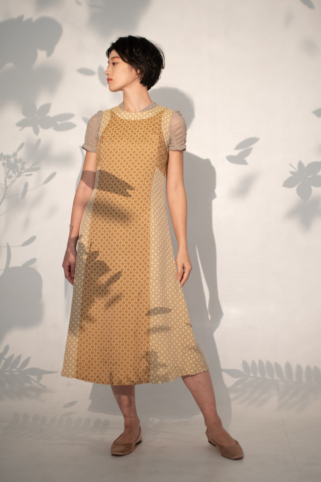 Mustard little block patched dress