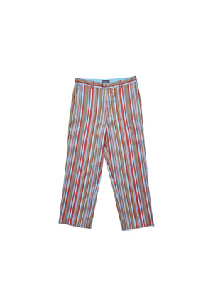 Cotton silk satin striped trousers