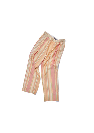 Cotton silk triple pleats striped trousers