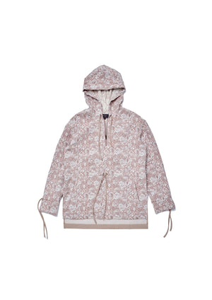 Floral jacquard patched herringbone woven hoodie