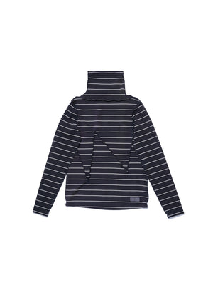 W cut turtle neck striped top