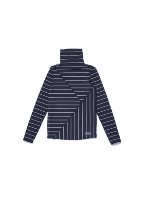Y cut turtle neck striped top