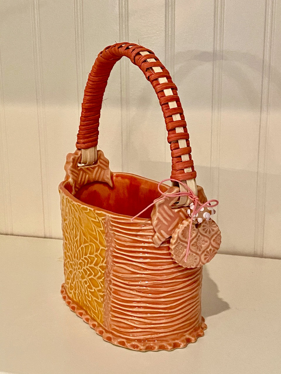 Rattan handled ceramic Basket SOLD OUT