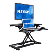 "Load image into Gallery viewer, FlexiSpot Stand Up Desk Converter -35 Inches Standing Desk Riser with Deep Keyboard Tray for Laptop (35"", Black, M7B)"