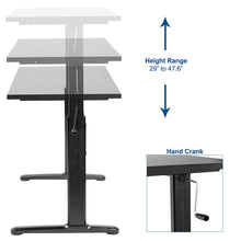 Load image into Gallery viewer, Black Height Adjustable 55 x 24 inch Table Top with Legs | Complete Sit Stand Desk Workstation with Frame and Desktop (DESK-V100M)