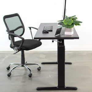 Black Height Adjustable 55 x 24 inch Table Top with Legs | Complete Sit Stand Desk Workstation with Frame and Desktop (DESK-V100M)