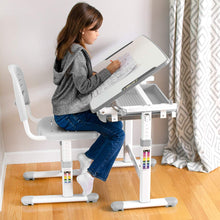 Load image into Gallery viewer, Height Adjustable Childrens Desk and Chair Set-Grey| Kids Interactive Workstation