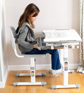 Height Adjustable Childrens Desk and Chair Set-Grey| Kids Interactive Workstation