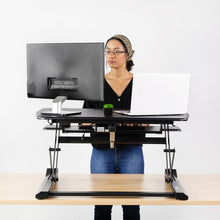 Load image into Gallery viewer, Electric Desk Riser-Black 36 inch| Sit Stand Tabletop Dual Monitor and Laptop Riser