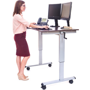 Crank Adjustable Stand-Up Desk (Dark Walnut Desk, Silver Frame)
