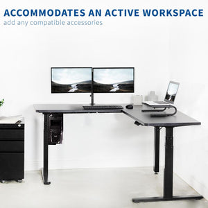 "L-Shaped Black Corner 67"" x 60"" Electric Desk"