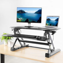 Load image into Gallery viewer, VIVO Black Deluxe Height Adjustable 36 inch Standing Desk Converter | Sit Stand Tabletop Dual Monitor and Laptop Riser Workstation