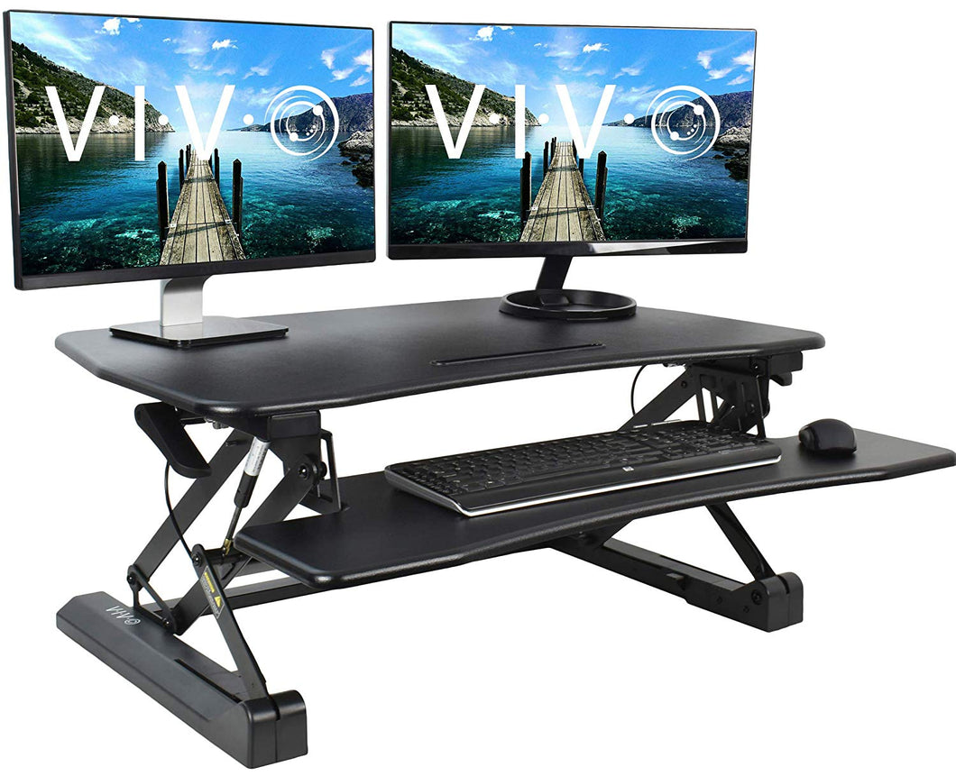 VIVO Black Deluxe Height Adjustable 36 inch Standing Desk Converter | Sit Stand Tabletop Dual Monitor and Laptop Riser Workstation