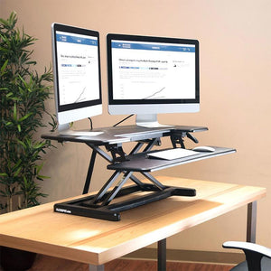 "FlexiSpot Stand Up Desk Converter -35 Inches Standing Desk Riser with Deep Keyboard Tray for Laptop (35"", Black, M7B)"