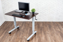 Load image into Gallery viewer, Crank Adjustable Stand-Up Desk (Dark Walnut Desk, Silver Frame)