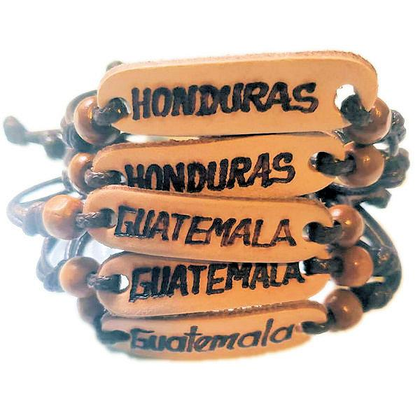 Handmade Leather Bracelets With Country Names Adjustable Strap - Guatemalan Fashion guatemala dress guatemalan traje women fashion men fashion leathe handbags huipil handbag summer fashion