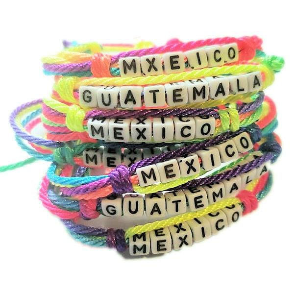Handmade String Bracelets With Country Names Features Adjustable Strap - Guatemalan Fashion guatemala dress guatemalan traje women fashion men fashion leathe handbags huipil handbag summer fashion