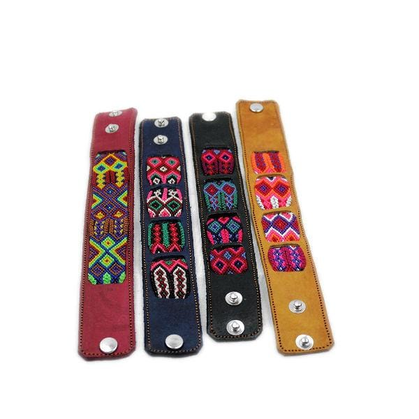 Friendship Embroidery Leather Bracelets Multi Color Pattern Handmade - Guatemalan Fashion guatemala dress guatemalan traje women fashion men fashion leathe handbags huipil handbag summer fashion