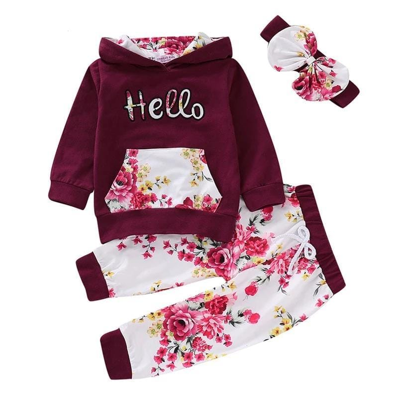 Sportswear Floral Toddler Baby Girl Outfits Clothes Tops +Pants Long Sleeve o-neck - Guatemalan Fashion guatemala dress guatemalan traje women fashion men fashion leathe handbags huipil handbag summer fashion