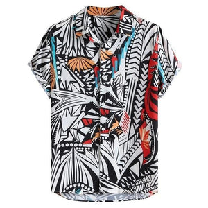 Mens Hit Color Printing Turn Down Collar Short Sleeve Loose Shirt