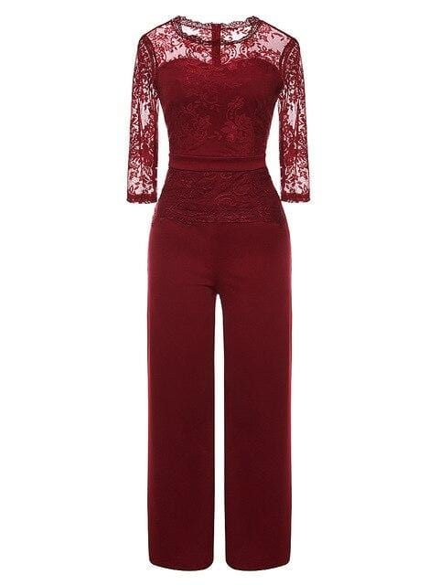 Sexy Patchwork Lace Jumpsuit Women Casual See Through O Neck Wide Leg Pants - Guatemalan Fashion guatemala dress guatemalan traje women fashion men fashion leathe handbags huipil handbag summer fashion
