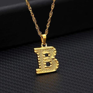 Tiny Gold Initial Letter Necklace For Women