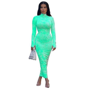 Women O Neck Long Sleeve Neon Tube Bodycon