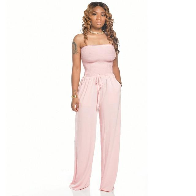 Jumpsuits Sexy Strapless Lace Up Loose Overalls