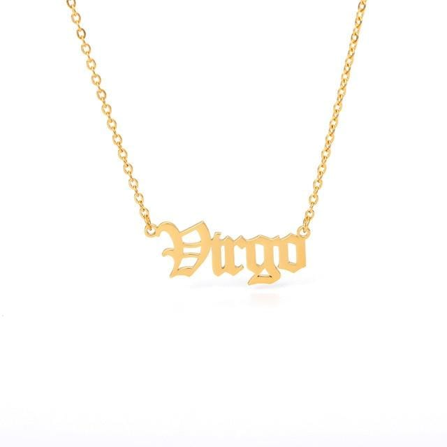 12 Zodiac Sign Letter Constellations Necklace For Women Men