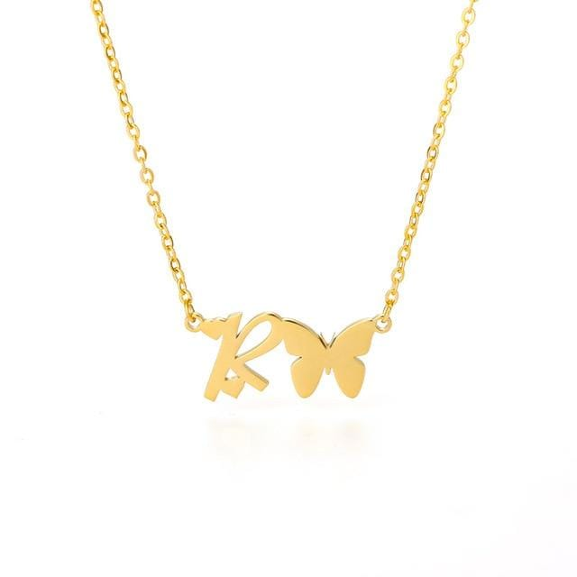 Cute A-Z Initial Letters Bow Necklaces Stainless Steel