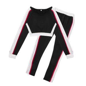 Women Two Pieces Tracksuit Crop Tops