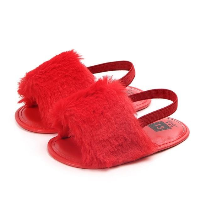 Baby Girl Slipper Sandals Breathable Fur Shoes