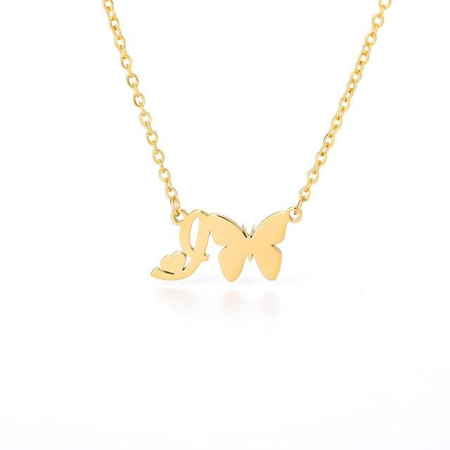 Cute Initial Gold Butterfly Necklace For Women