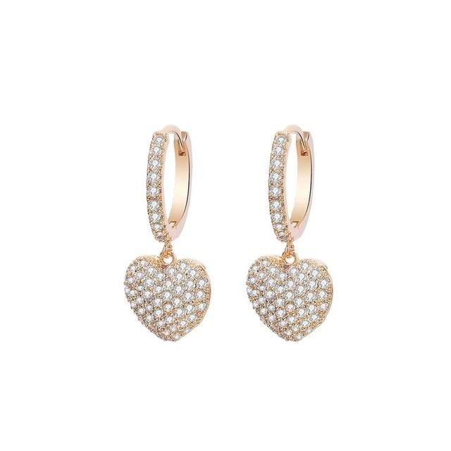 Micro Pave CZ Heart Drop Earrings for Women