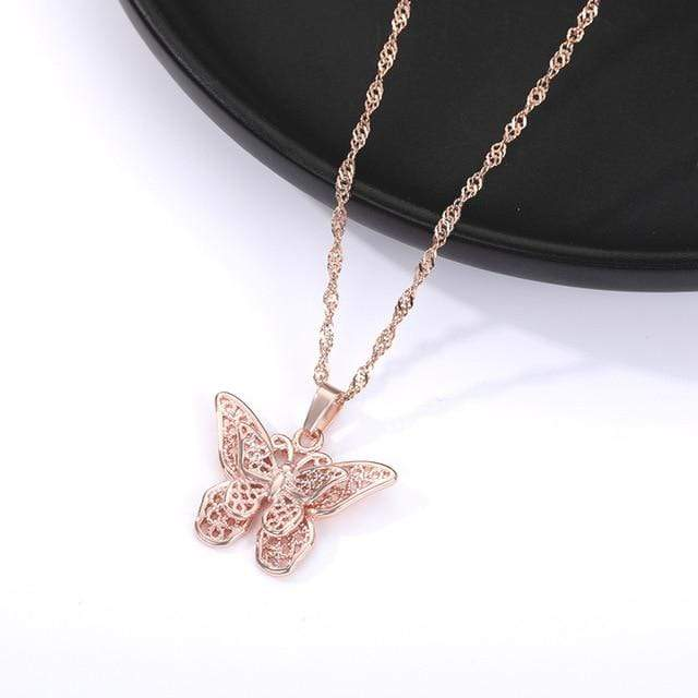 Butterfly Necklace For Women Stainless Steel Gold