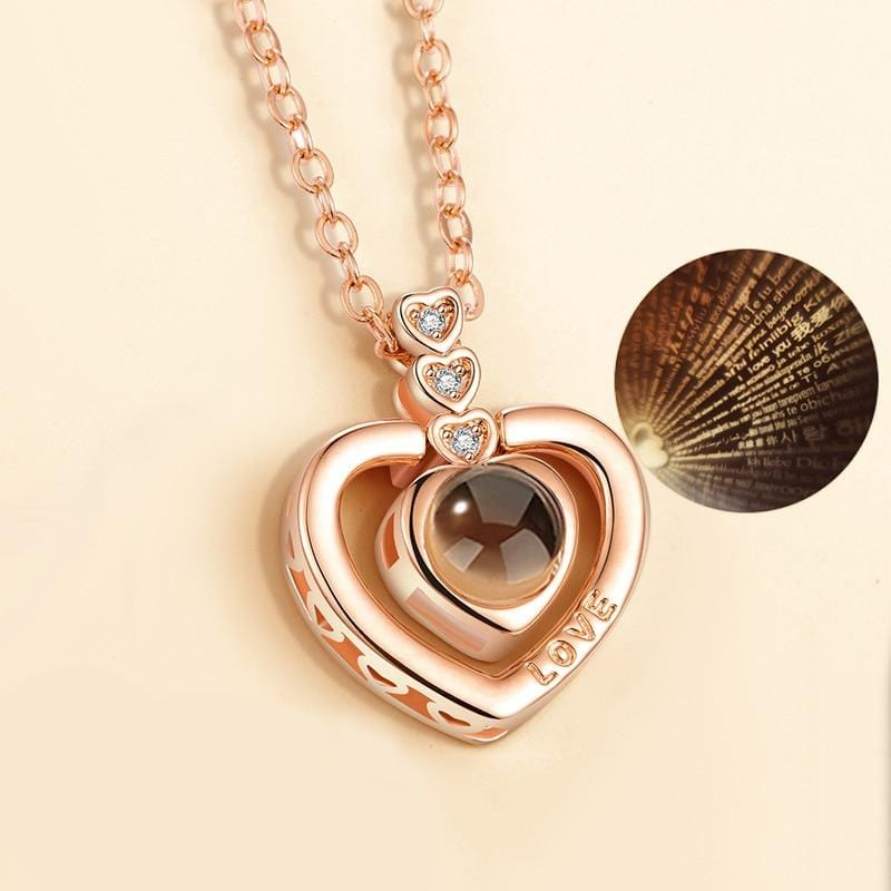 Heart Charm 100 Language i Love You Projection Necklace - Guatemalan Fashion guatemala dress guatemalan traje women fashion men fashion leathe handbags huipil handbag summer fashion