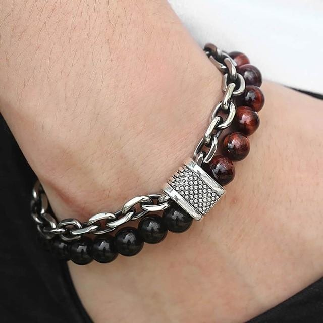 Men's Beaded Bracelet  Stainless Steel - Guatemalan Fashion guatemala dress guatemalan traje women fashion men fashion leathe handbags huipil handbag summer fashion