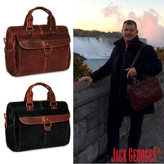 Voyager Top Zip Briefcase with Front Flap | Jack Georges