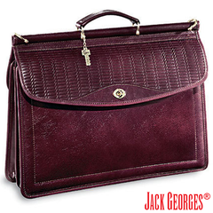 Sienna Woven Wood-Dowel Flap Over Briefcase #W7457 | Jack Georges