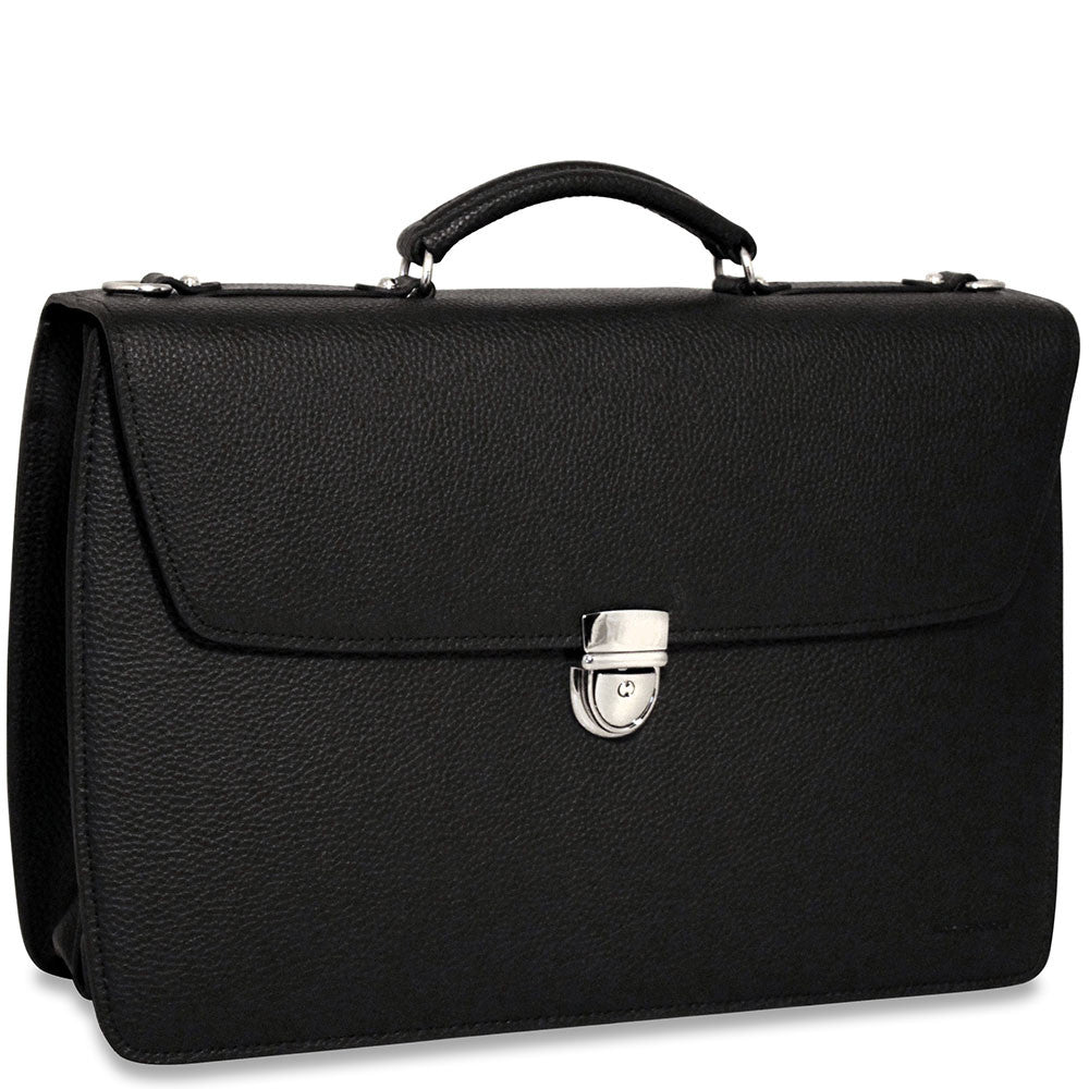 Jack Georges SOHO Collection Executive Briefcase #1402 Black Front Right Side