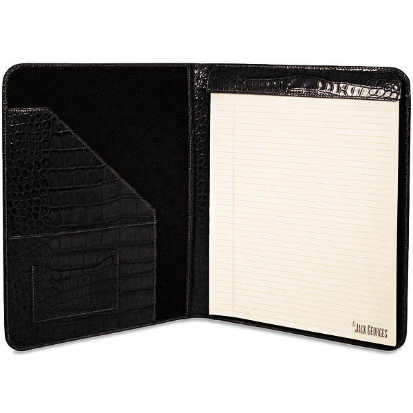 Croco Letter Size Writing Pad Cover #2511 Black Front Face