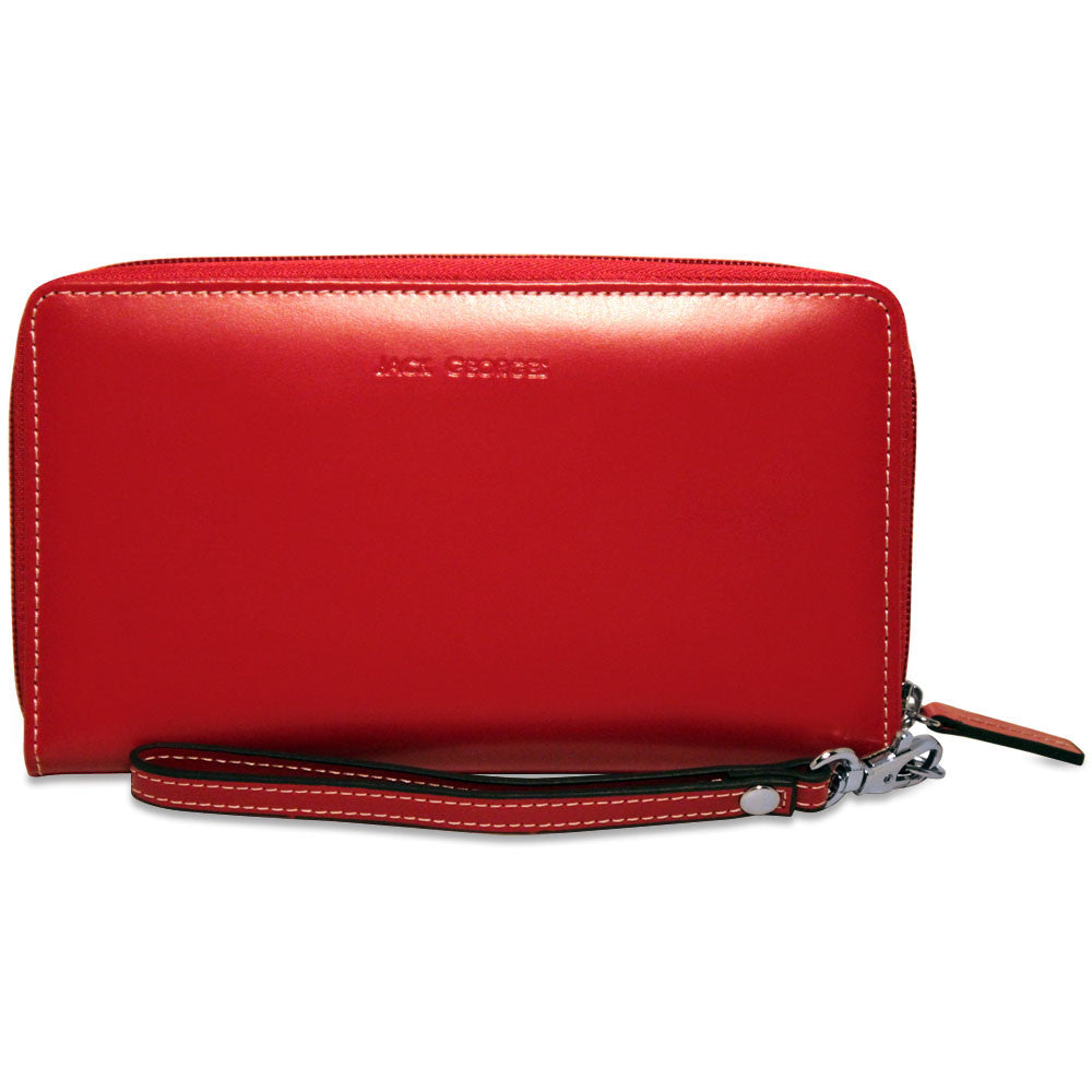 Milano Large Clutch Wristlet Wallet #3724 Red Interior Open
