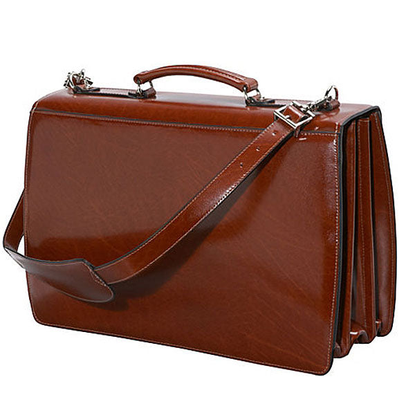Elements Triple Gusset Flap Over Leather Briefcase #4403 Cognac Front Side