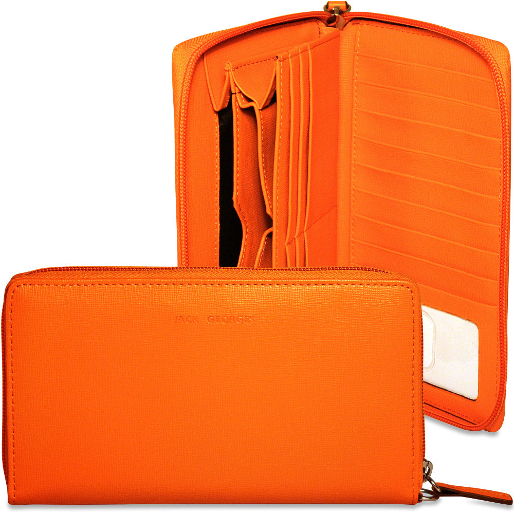 Chelsea Slim Travel Wallet #5724 Orange Display