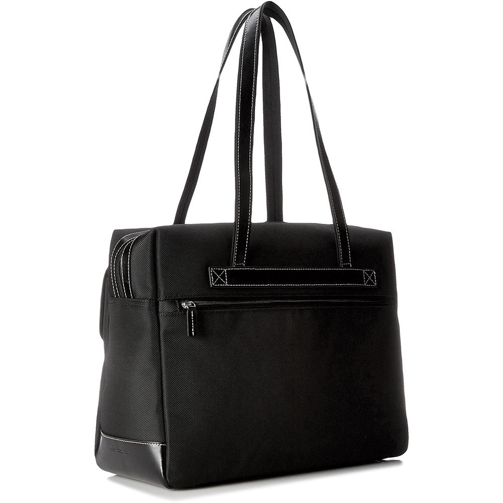 Generations Collection #6928 Zip Closure Business Tote w/Front Pockets Black-Cream Front Face