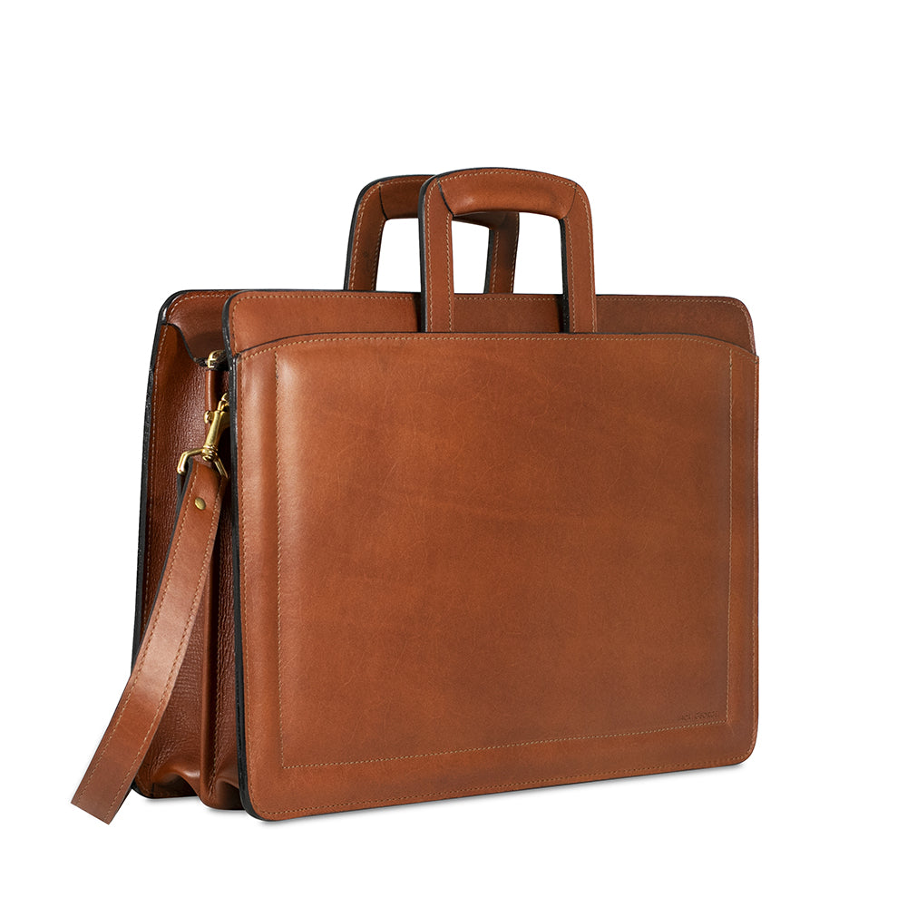 Belting Slim Leather Briefcase #9001