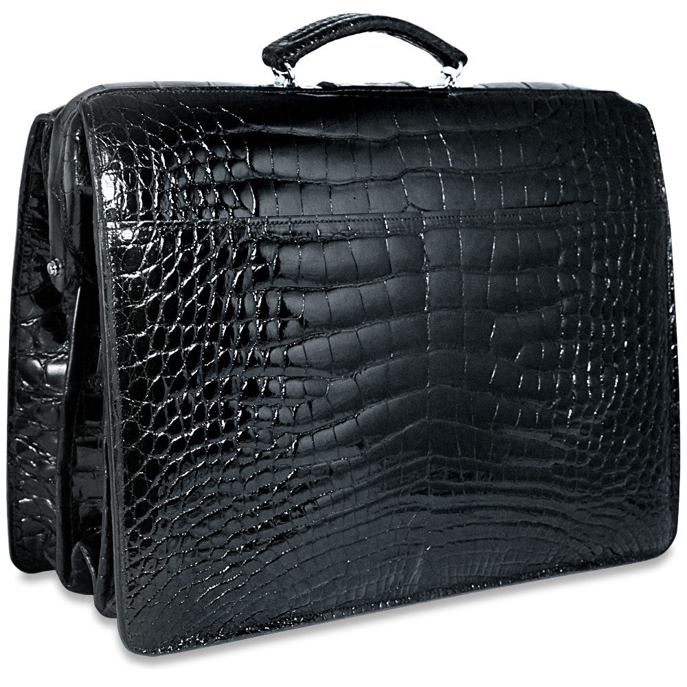 Jack Georges American Alligator Black Classic Briefbag #AL505 (Front Right Side)