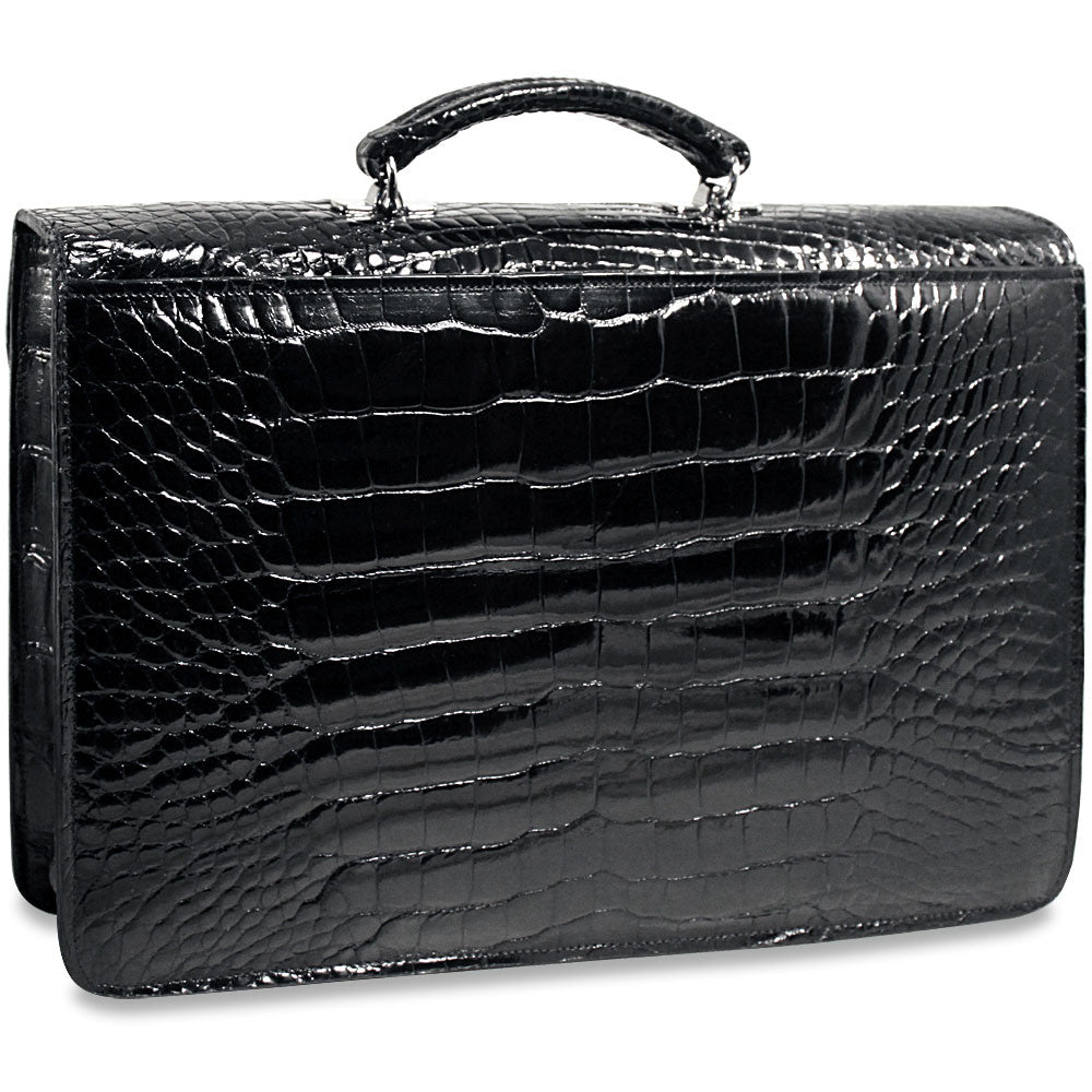 American Alligator Slim Flapover Briefcase #AL401 Black Front Side