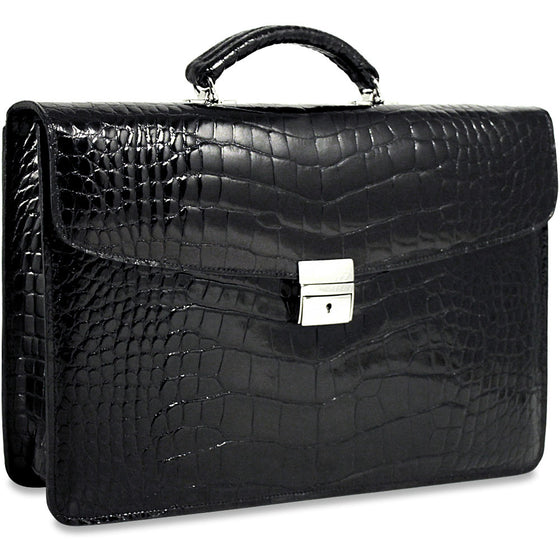 Leather Law Litigator Litigation Business Soft Sided Black Attorney Briefcase