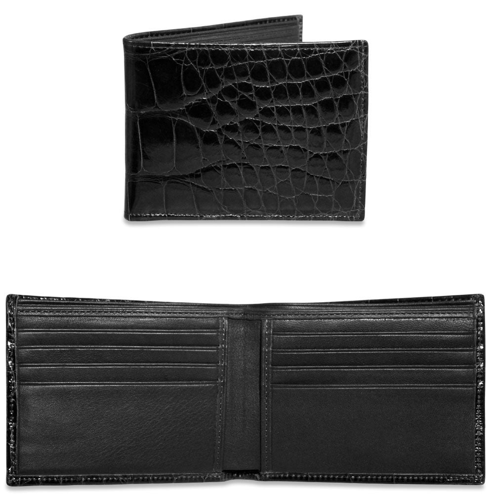 Jack Georges American Alligator Brown Classic Bi-Fold Wallet #AL701 (Open and Closed)